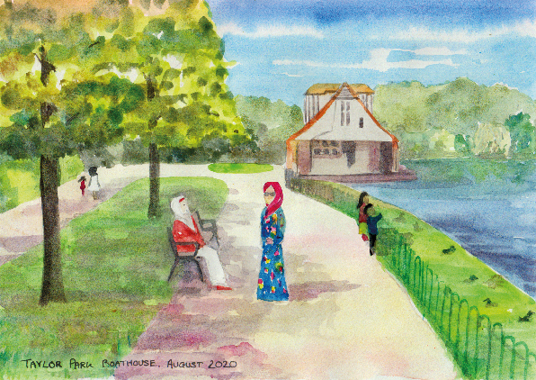 A watercolor painting showing a woman sat on a bench and another stood nearby, both wearing beautiful dresses and headscarves. They are in a park, with trees to the left, a boathouse building and lake to the right. Two figures are walking in the distance and two children are looking over the railings towards the lake. Text in bottom left reads: Taylor Park Boathouse, August 2020.