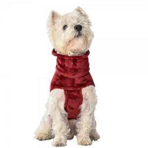 Cappottino felpato rosso invernale per cani