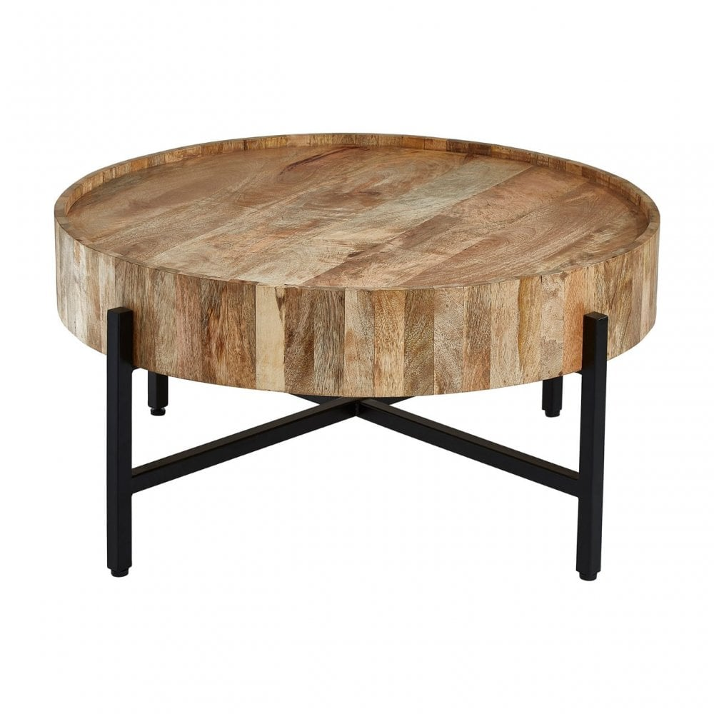 clanbay crest mango wood coffee table iron wood natural