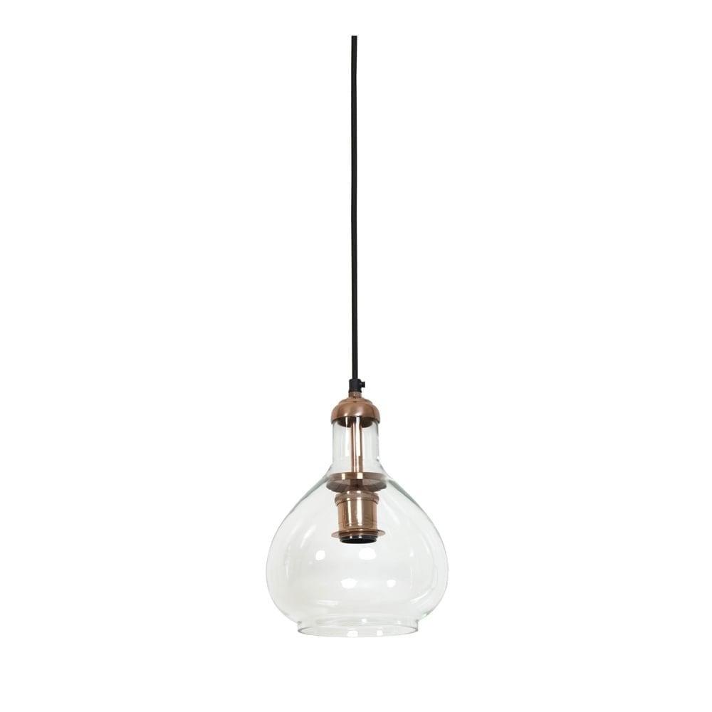 Hanging Pendant Lamp D19x28cm Dela Glass Copper Clanbay 3053063