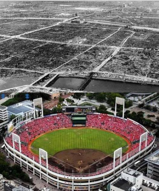 07. Hiroshima, Japão, depois da bomba atômica e reconstruída atualmente