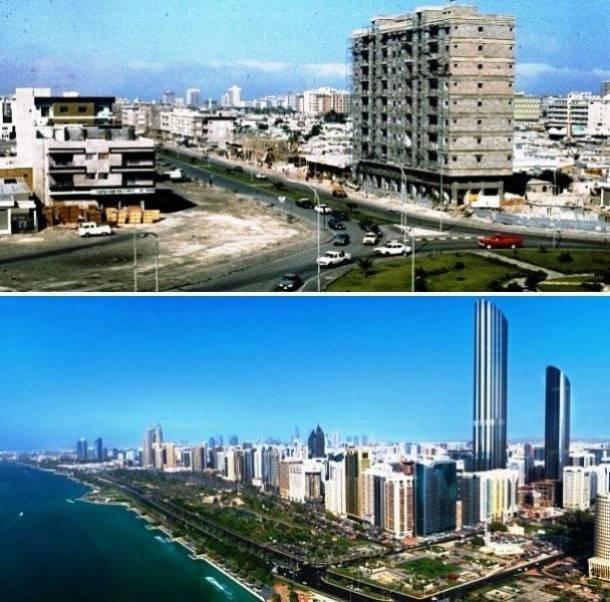 22. Abu Dhabi, Emirados Árabes Unidos 1975 e hoje em dia