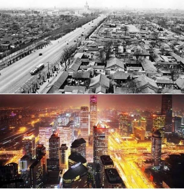 24. Pequim, China 1950 e atualmente