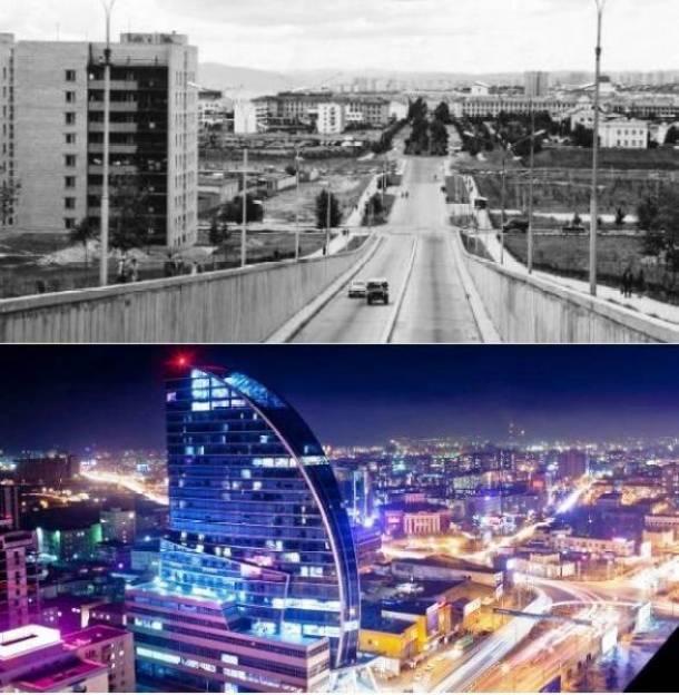 25. Ulan Bator, Mongólia 1950 e hoje em dia