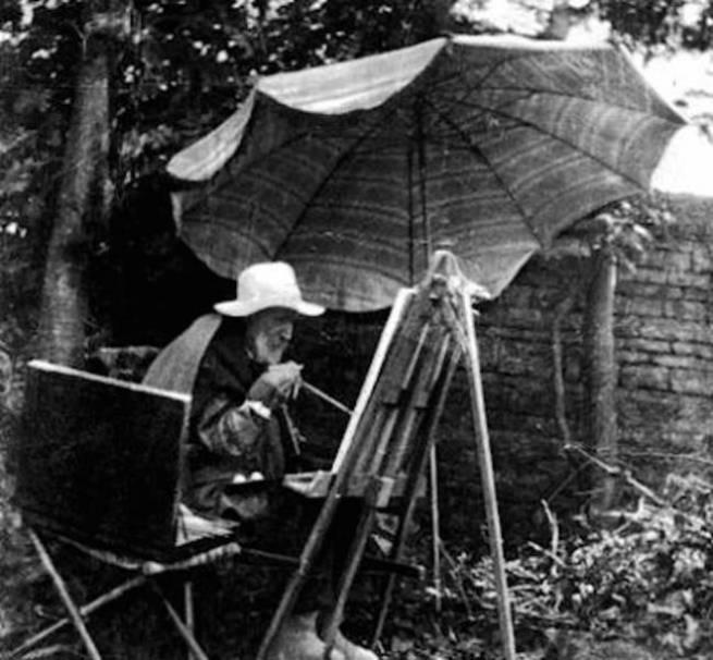 Renoir pintando tranquilamente em seu jardim, em 1910