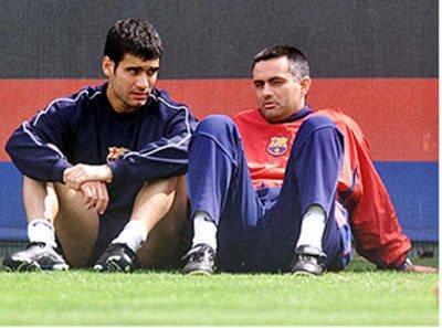 Pep Guardiola e José Mourinho, nos tempos de Barcelona