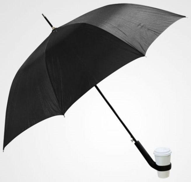 8. Este guarda-chuva com um porta-copo