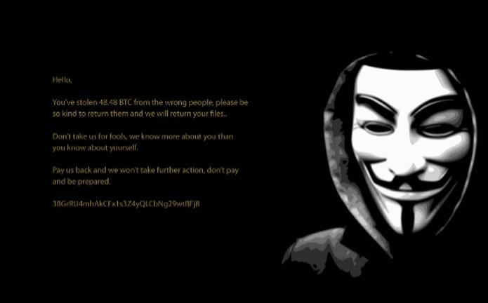 Papel de parede com a imagem de Guy Fawkes com mensagem para a vítima