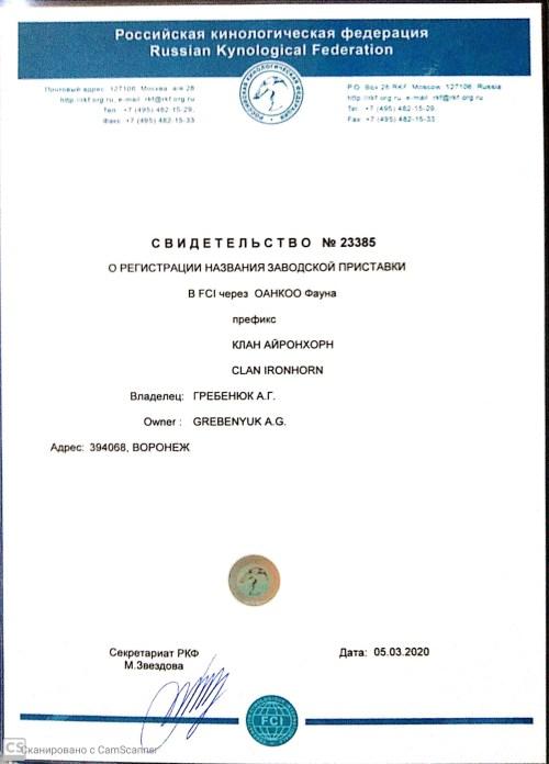 Свидетельство о регистрации частного питомника вельш корги пемброк Воронеж CLAN IRONHORN 23385 от  05.03.2020