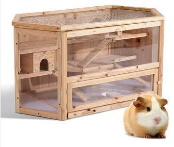 Angeljane Cadeau à 3étages en Bois Cage pour Hamster Maison pour rongeurs Mouse pour Animal Domestique Animal de Petite Taille en Bois Kit de différentes de Jouer Les Petits Animaux 105x 60x 56cm