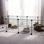 SUKI & SAMI petit parc pour animaux de compagnie, cage d'animaux portable intérieur d'intérieur, clôture de yard de stylo d'exercice pour le cobaye, lapins, fil noir 12 panneaux