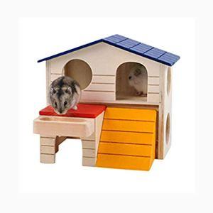 Sulida Maison/Maisonnette/Villa Rongeur en Bois pour Hamster Nain Souris Rat Gerbille Petits Rongeurs Villa Double nid Longueur*Largeur*Hauteur:17 * 9 * 18cm