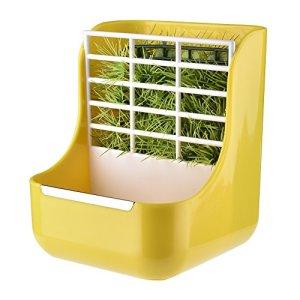 Purebesi Pet Feeder et cadre d'herbe pour lapins chinchillas Big cochons d'Inde conteneurs de nourriture 2en 1distributeur bols