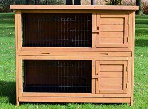 Zooprimus Cage Clapier Lapin Extérieur en Bois de Haute Qualité pour Lapins 116x63x98cm Modèle « 005- Hoppel »