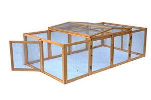 Cage enclos clapier XXL à Lapins lièvre cobaye   (L x l x H) : 200 x 123 x 53 cm – Pliable – Nature
