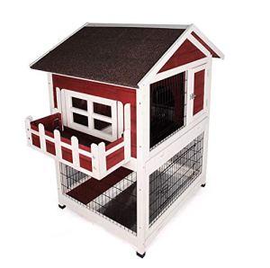 WTTTTW Hutch Lapin de en Plein air, Cages de Lapin en Bois à l'intérieur avec Toit imperméable de Protection Contre Le Soleil de fenêtre de Balcon, Villa d'animal familier