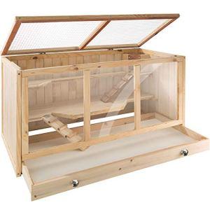 TecTake 403230 Cage à Hamster Cochon d'Inde Petits rongeurs en Bois, Plusieurs étages avec rampes, Tiroir intégré pour Un Nettoyage Facile