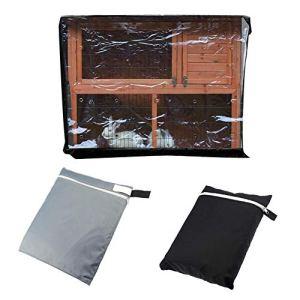 Morningtime Housse de Protection Lapin Cloche Protection étanche à la poussière Pare-poussière de Cage de Lapin Tissu Oxford 210D Couvercle de clapier pour Double Stand