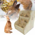Sympuk Mangeoire à foin en bois 2 en 1 pour lapin en bois – Peut être fixé – En bois naturel – Facile à installer.
