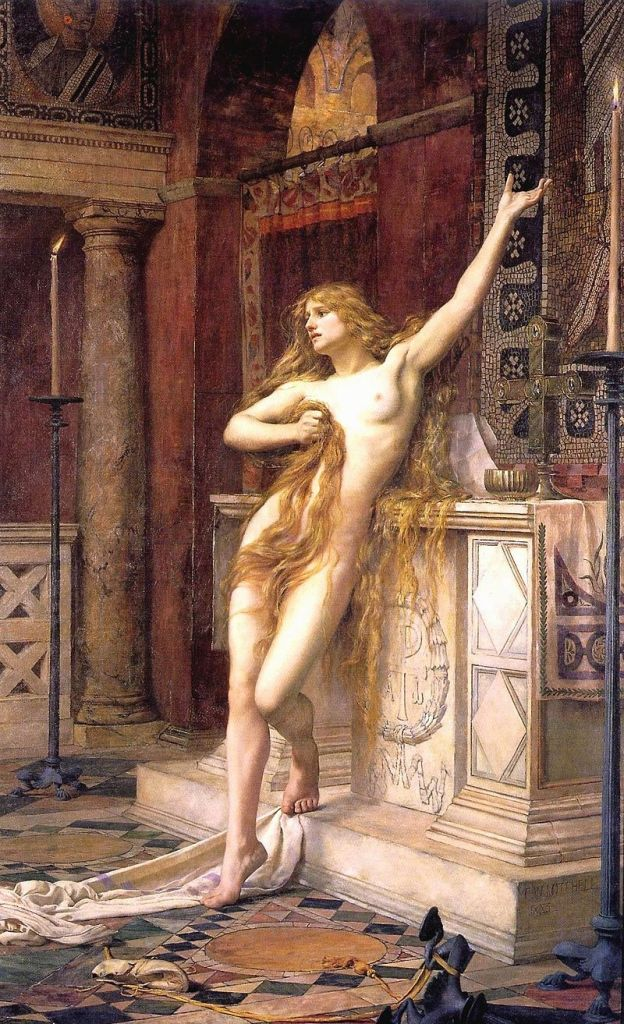 "Hypatia was a philosopher in Alexandria. Her knowledge of astronomy and mathematics led to suspicion of sorcery and she was flayed alive by a mob of monks. She is considered by scholars such as Soldan and Heppe to have been the first famous woman to be persecuted for witchcraft by the Christians. (image credit: ""Hypatia (Charles William Mitchell)"" by Charles William Mitchell - http://www.artyzm.com/world/m/mitchell/hypatia.htm. Licensed under Public Domain via Commons - https://commons.wikimedia.org/wiki/File:Hypatia_(Charles_William_Mitchell).jpg#/media/File:Hypatia_(Charles_William_Mitchell).jpg"
