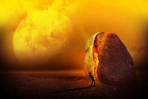 man shapeshifts into rock
