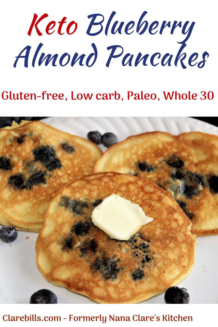 Keto Blueberry Almond Pancakes