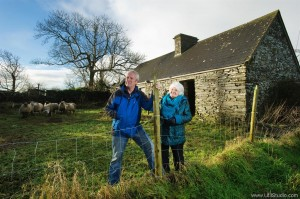 Aidan and Geraldine Halpin outside the old Finucane homestead. Photograph by John Kelly