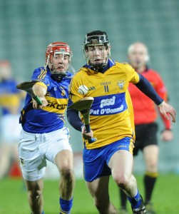 Tony Kelly of Clare in action against James Woodlock of Tipperary during their Waterford Crystal Final at The Gaelic Grounds. Photograph by John Kelly.