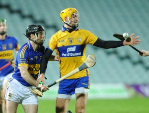 Peter Duggan of Clare in action against Conor O Brien of Tipperary during their Waterford Crystal Final at The Gaelic Grounds. Photograph by John Kelly.