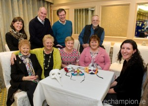 Monica Gallagher, Caroline Stack, Neasa Sexton and Anita O' Loughlin of Sláinte An Chláir with Saoirse Byrne of Ennis Players, right, and at rear, Sinéad Finn, Allen Flynn, Mick Kelly and Eddie McCourt of Ennis Players at the launch of the Ennis Players forthcoming charity production of Calendar Girls, in aid of four local charities, at the Old Ground Hotel. Photograph by John Kelly.