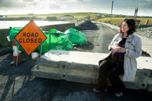 Local woman Yvonne Mc Namara, who is expecting a baby at the end of the month is concerned over Clare County Council's decision to close an 80m stretch of road in the village. Photograph by John Kelly.