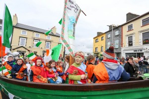 Under full sail in the Gort St Patrick's Day parade.  Photograph by Arthur Ellils