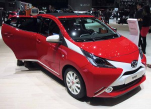 Toyota's Aygo, sister car to the Citroen C1 and Peugeot 108, sports an intriguing two tone design.