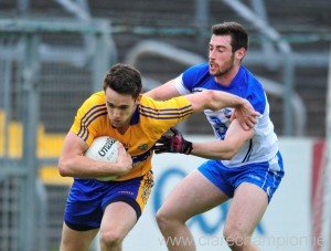 Shane Brennan gathers ahead of Waterford's Oran Keevers.  Photograph by Declan Monaghan