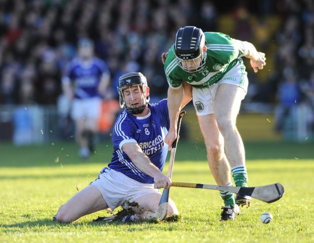 Martin Oige Murphy of Cratloe in action against Graeme Mulcahy of Kilmallock during their Munster Club final at The Gaelic Grounds. Photograph by John Kelly.