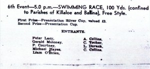 A page from the Killaloe Regatta programme of 1939.