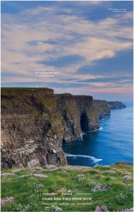 The Cliffs of Moher image featured in Tourism Ireland's wrap of the Daily Telegraph in Britain.