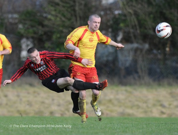 Mike Mc Namara of Bridge United A in action against Barry Nugent of Avenue United A during their Premier League game at Roslevan. Photograph by John Kelly.