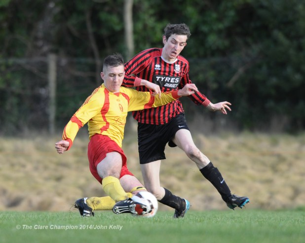 Conor Mullen of Avenue United A in action against Johnathan Downes of Bridge United A during their Premier League game at Roslevan. Photograph by John Kelly.