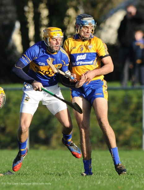 James Woodlock of Tipperary in action against Brendan Bugler of Clare during their Waterford Crystal Cup game at Sixmilebridge. Photograph by John Kelly.