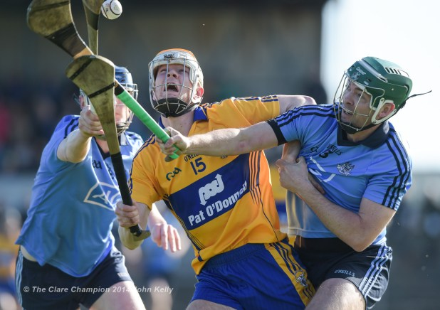 Aaron Cunningham of Clare in action against Michael Carton of Dublin during their NHL Division 1 Round 4 game in Cusack Park. Photograph by John Kelly.