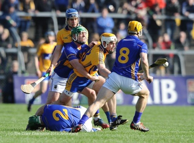 Conor Mc Grath of Clare in action against John O Dwyer of Tipperary during their game in Cusack park. Photograph by John Kelly.
