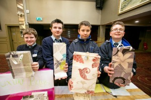 Student Enterprise Awards Winners: Junior Category Winners - 1st Luxury Bags (St Anne's Community College Killaloe) Thomas Buckley, Gearoid Guilfoyle, Dawid Chojnacki and Mateusz Bogusiak pictured at the awards ceremony at The Treacys west County Hotel Ennis on Thursday.Pic Arthur Ellis.