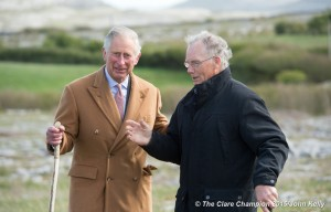 Charles Prince of Wales, is briefed on  Burren farming by Pat Nagle, Landowner, during his visit to the Burren in County Clare as part of his four day trip to Ireland. Photograph by John Kelly.