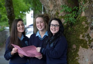 Claire Honan, Elana Bradley and Zoe West checking their exam papers at Coláiste Muire, Ennis. Photograph by Arthur Ellis