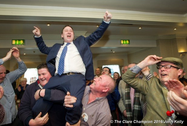 Joe Carey, Fine Gael, celebrates his election at theGE2016 count in Ennistymon. Photograph by John Kelly.
