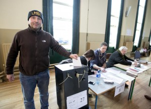 260216 Anthony DiLucia casting his vote at The Holy Family Polling Station Ennis this morning.Pic Arthur Ellis.