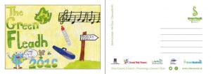 Sarah postcard with an important message for all attending the Fleadh.
