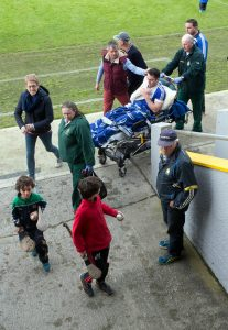 Cratloe's Conor McGrath is taken from Cusack Park by stretcher after his side lost out to Clonlara in the Clare County Championship Hurling semi final today. Pic Arthur Ellis.