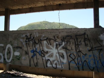 Cross on the hill, view from sniper's nest, Mostar